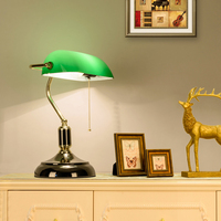 green glass lampshade Classical Bank Lamp 1 Light black Desk Lamp pull cord switch reading light ajustable desk lamp table light