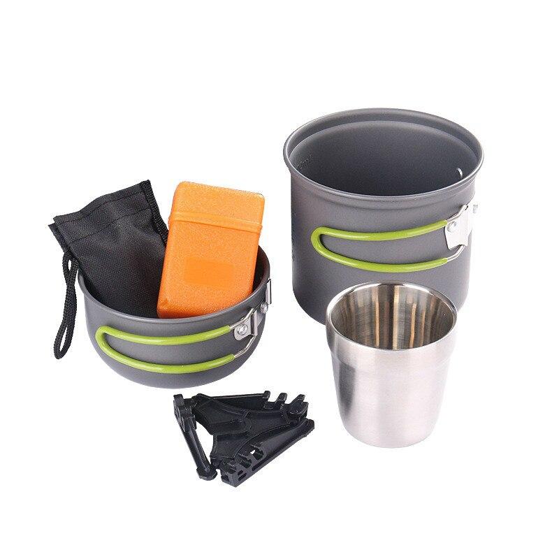 Extérieur 1-2 personne en alliage d'aluminium cuisinière ensemble Camping Set Pot Portable Barbecue four vaisselle cuisinière four tête