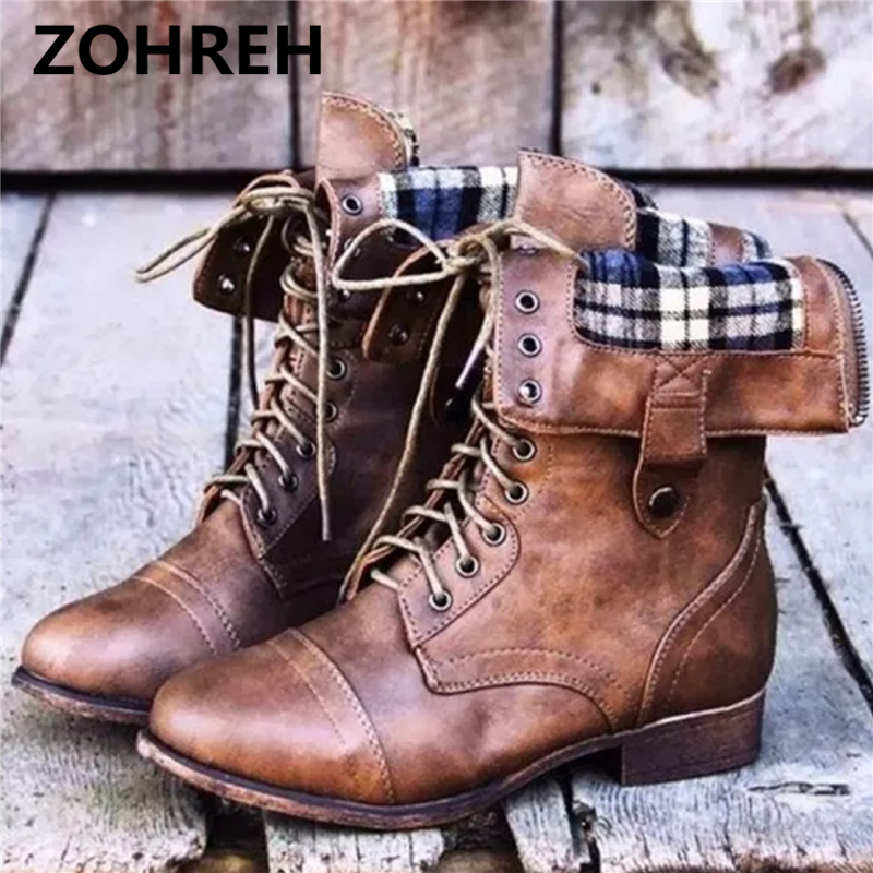 ZOHREH Genuine Leather Streetwear Platform Lace Up Boots High Heels Superstar Pointed Toe Handmade Sweet Women Mid-calf Boo ...
