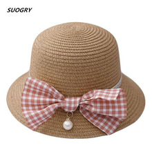 SUOGRY High Quality Boy Girls Straw Hats Bow Summer Sun For Kids Children Beach Foldable Sunscreen Including Bag