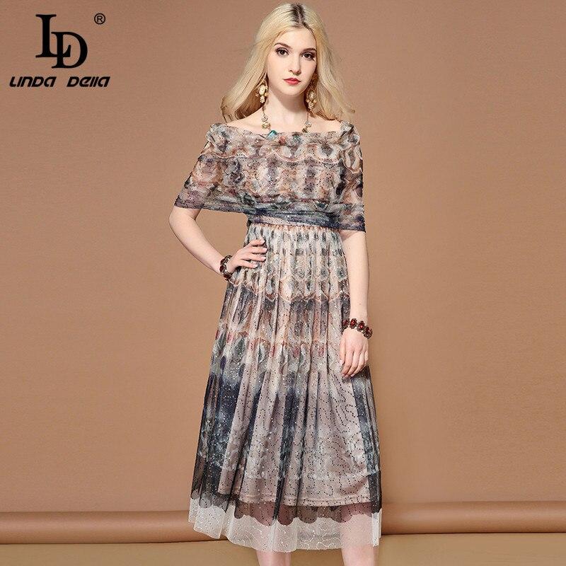 LD LINDA DELLA D'été De Mode Piste Mesh Sequin de robe pour femmes Sexy de L'épaule Vintage Mi Solide robe élégante robes