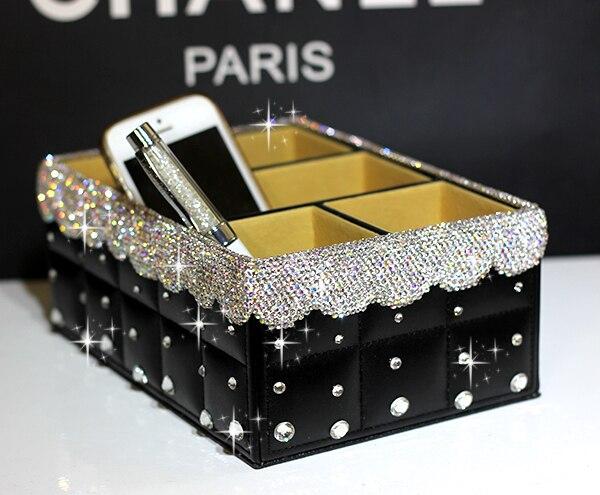 Papeterie boîte de rangement en cuir avec boîte en cristal organiseur de bureau boîte organisateur de bureau en cuir boîtes décoratives fournisseur de bureau
