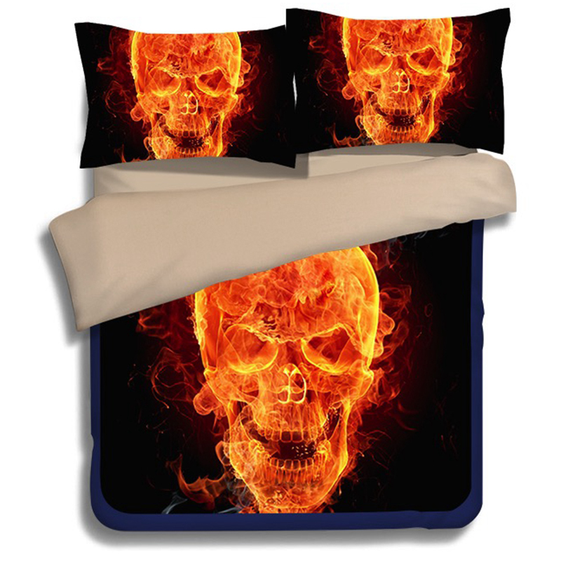 New Arrival 3D Skull 3pcs Bedding Set Designer Duvet Cover Set Queen King Size <font><b>Bed</b></font> Sheets Home Textile,Water does not fade