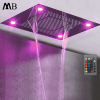 Ceiling Embedded Rainfall Waterfall LED Shower Head Big Water Curtain Showerhead Bathroom 600*800mm 3 Functions Showers Brushed