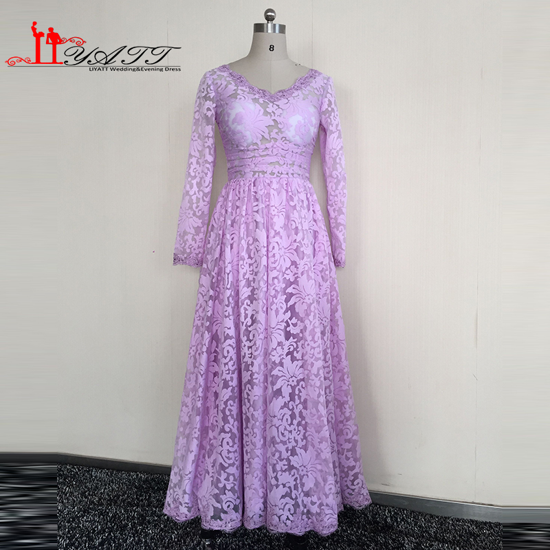 Real Picture 2016 Evening Prom Dresses Lilac V-neck Long Sleeves Ankle Length Lace Sexy See Through Vintage Arabic Dubai Liyatt image