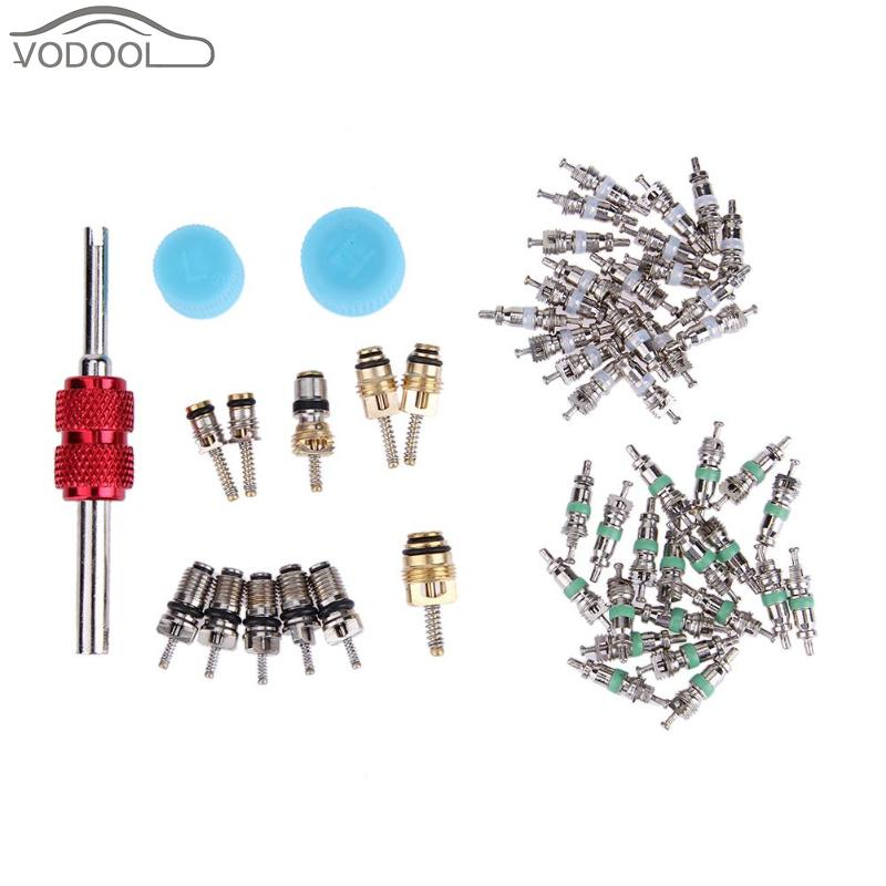 54Pcs R134A Car Automotive A/C Valve Core Voiture Air Conditioning Assortment Remover Kit Car Repair Tool Set Auto Accessaries
