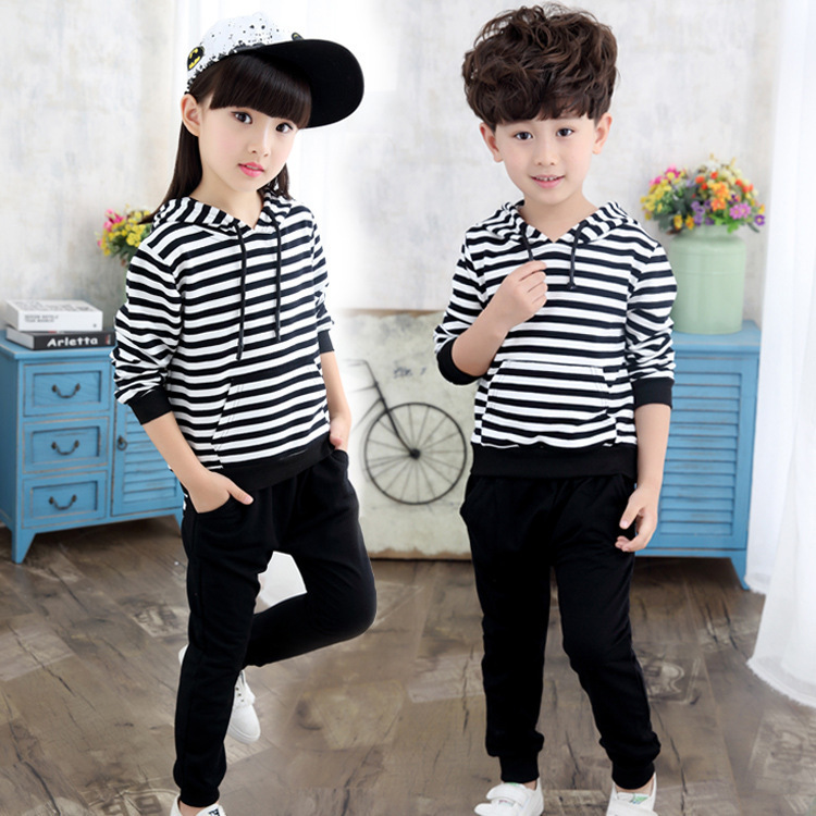 Korean Spring Autumn Suit Child Leisure Time Motion Even Hat Children Stripe Two Pieces Baby Children's Garment Kids Clothing 2017 new pattern small children s garment baby twinset summer motion leisure time digital vest shorts basketball suit