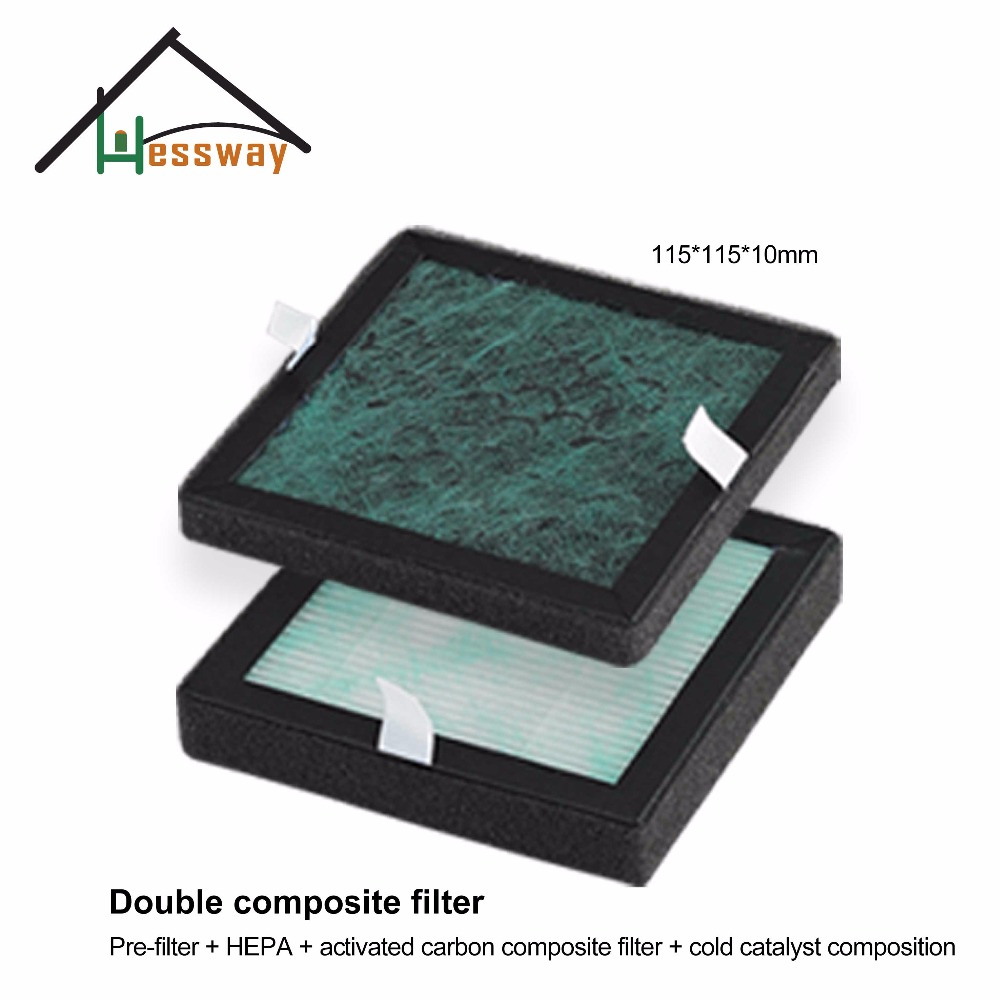 HEPA Filter Dust Collection Filter Air Purifier Activated Carbon Filter with Double composite filter 115*115*10mm negative ion air cleaning box air mate for bedroom with true hepa activated carbon filter electric arc pm 2 5 allergen free