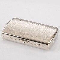Silvery White Copper Cigarette Box Lines Metal Cigarette Case Holder Box For 12 Cigarettes 1Set