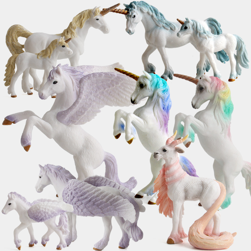 Unicorn Figurines Pegasus Elf European Mythical Miniatures Animals Model Fairy Flying Horse Action Figures Kids Collection Toys