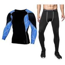 Мужчины Pro компрессионное белье наборы фитнес зима быстросохнущие Gymming мужчины весна осень спортивные Леггинсы для бега тренировки утеплённые длинные кальсоны