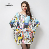 Pullover Maglione Unif Coreano Donne Maglioni E Pullover Stampa Volto sorridente Graffiti Off Shoul Der Abiti Maglione Per Le Donne