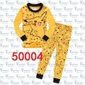 1-8Years Nueva Pokemon Pikachu Pijamas Bebé Ropa de Dormir Pijamas Ropa Infantil Traje Amarillo Pijamas de Los Cabritos Fijaron para Niños Niñas