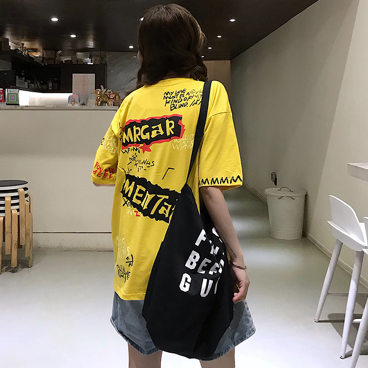 T-shirts Women Graffiti BF European Style Loose Harajuku Hip Hop Streetwear Chic Couple Clothes Unisex Daily Tshirt Womens Soft 85