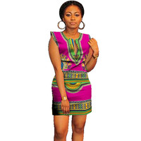 African Dresses for Women 2019 Bazin Rich Above Knee Slim Traditional African Clothing Sexy African Dresses Dashiki for Women