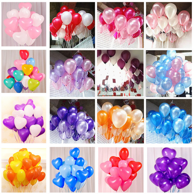 10pcs 12 inch White Blue Latex Balloons Birthday Party Decorations Kids Wedding Party Supplies Baby Shower Heart Latex Balloons