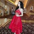 2017 Новых Женщин Vestidos Sexy Кружева Крючком Hollow Жгут красные платья платье богемной платье симпатичные ремни элегантное платье партии женщин