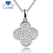 Solid 18kt White Gold Natural Real Diamond Pendant Solitaire For Wife Anniversary Party Fine Jewelry WP077