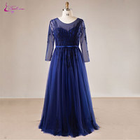 Waulizane Plus Size Vintage Tulle A Line Mother of the Bride Dresses Scoop Full Sleeves Embroidery Appliques Formal Dresses