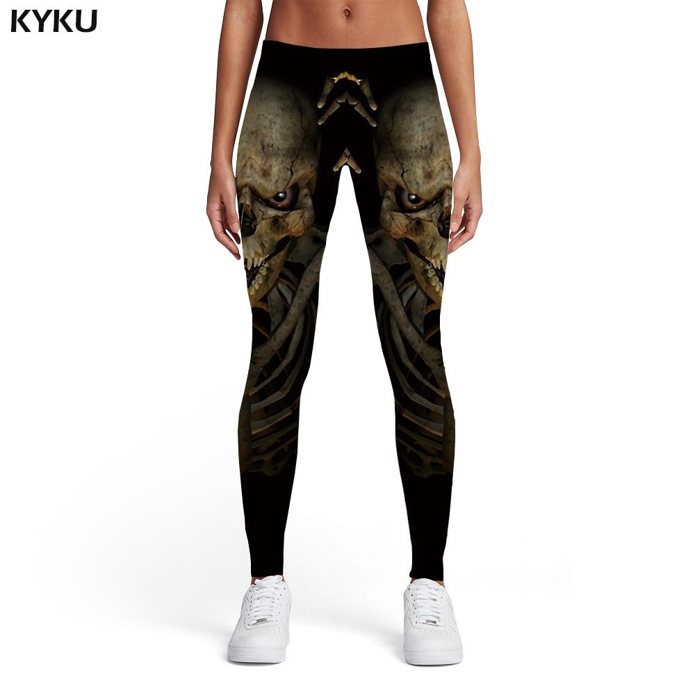 KYKU Brand Skull Leggings Women Black Printed pants Skeleton Sport Punk Sexy Gothic Leggins Womens Leggings Pants Fitness in Leggings from Women 39 s Clothing