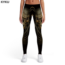 KYKU Brand Skull Leggings Women Black Printed pants Skeleton Sport Punk Sexy Gothic Leggins Womens Pants Fitness
