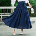 Navy Blue Big Swing High Waist With Bow Long Maxi Women Autumn Spring Skirts Chiffon Pleated Skirt Female Clothes