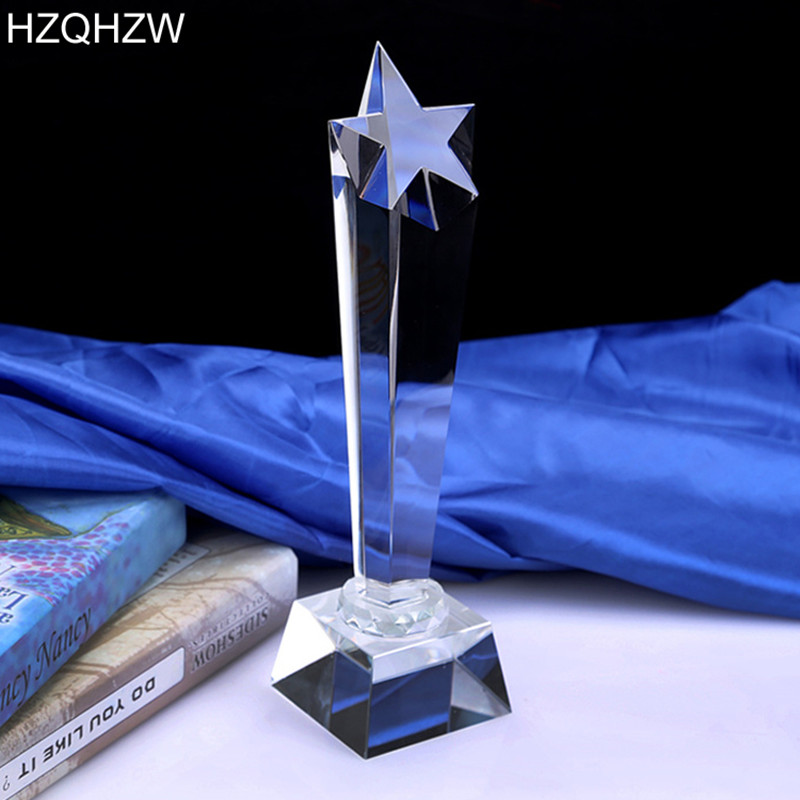 Logo Or Words Customized Crystal Trophy Star Decorative Glass Award Sport Events Souvenirs Annual Meeting Awards Music Trophy angel metal oscar trophy with a crystal base engraved logo or words for dancing contest award video music champions award cup
