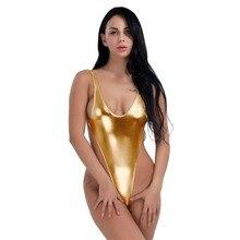 5a7329e4182 KingMistres Women Lady Sexy Metallic Shiny Gold One Piece Leotard Wet Look  Bodysuit