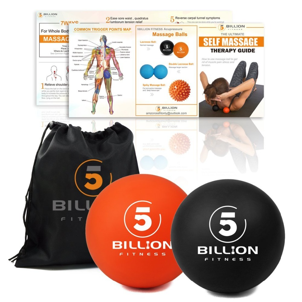 Lacrosse Balls - Deep Tissue Massager, 1er Set Orange & 1 Schwarz - - Fitness und Bodybuilding - Foto 2