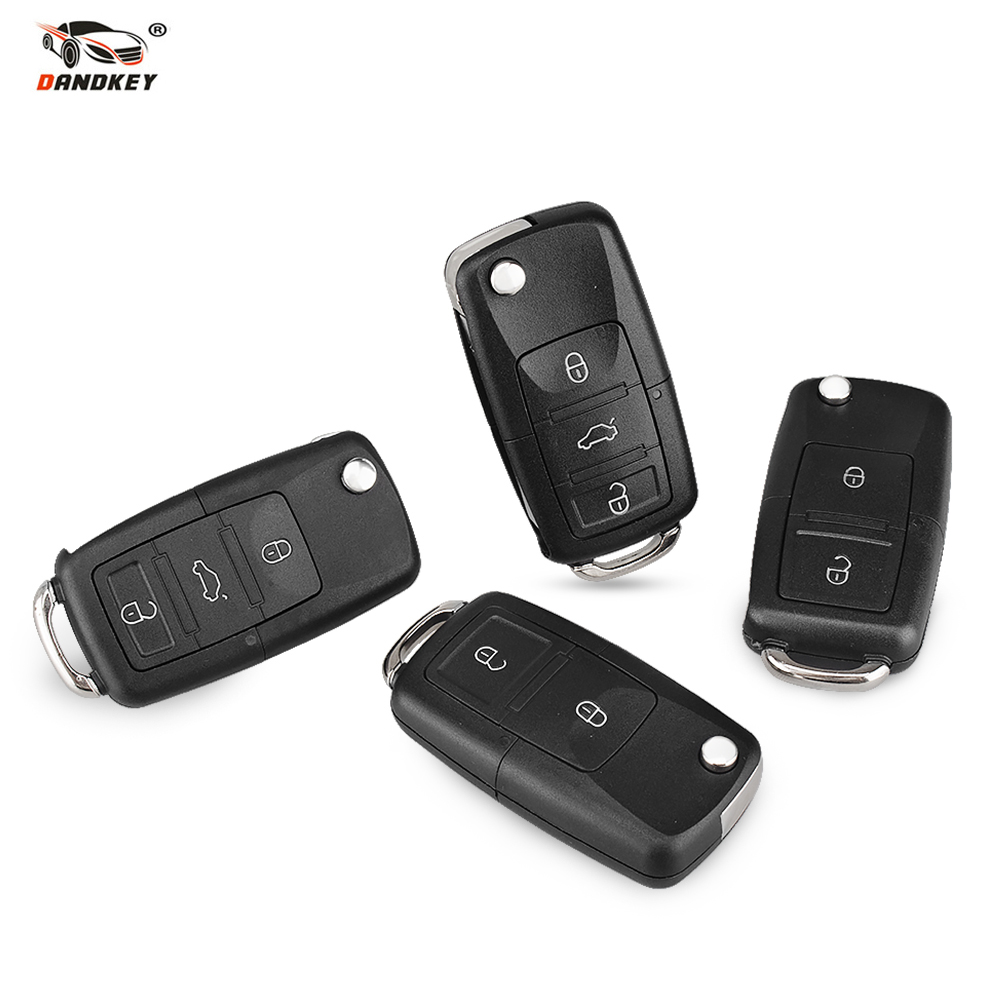 DANDKEY Flip Folding 2/3/3+1 No Blade 3 Button With Blade Remote Car Key Shell For Volkswagen Jetta Golf Passat Beetle Polo Bora цена