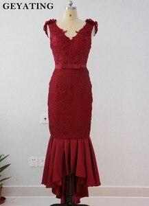 Image 2 - Blush różowa koronka suknie dla druhen o kroju syreny 2020 afrykańska sukienka na formalną imprezę na herbata ślubna długość wysoki niski suknie Maid of Honor