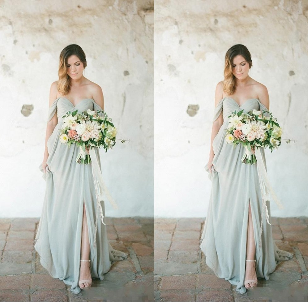 Elegant Sage Green Boho   Bridesmaid     Dresses   Long 2019 A Line Off The Shoulder Sexy Side Slit Maid Of Honor Wedding Party   Dress