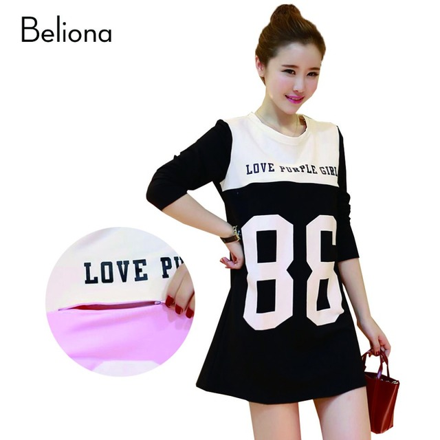 3 Color Long Sleeve Letter Print Breastfeeding Tops Autumn Spring Nursing T Shirt Dress Maternity Clothes Pregnancy Clothing