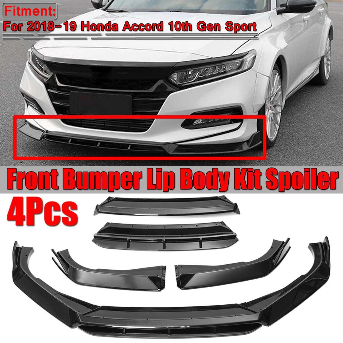 New 4pcs Car Front Bumper Lip Splitter Body Kit Spoiler Splitter Front Bumper Lip For Honda For Accord 10th 2018 2019 Gen Sport