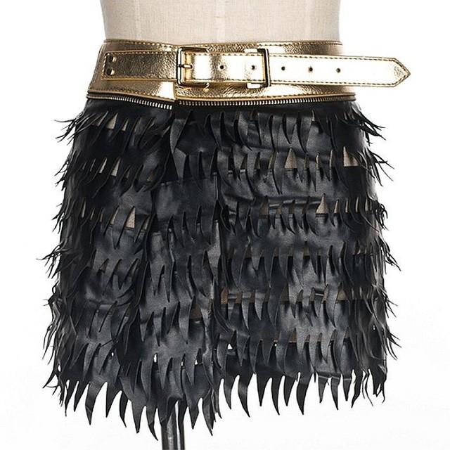 Novos Rebites de moda Do Punk geométrica triângulo longa borla ampla mulheres cinto de fivela de couro original preto feminino skorts de cintura alta cinto