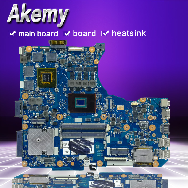 AKemy N551VW For <font><b>ASUS</b></font> <font><b>N551V</b></font> G551V FX551V G551VW FX51VW N551VW Laptop Motherboard I7-6700HQ CPU motherboard Test work 100% image