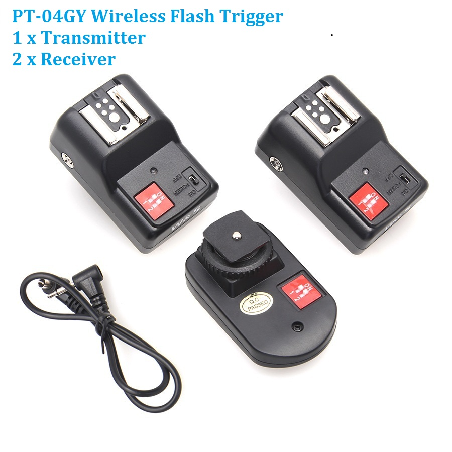 WanSen PT-04GY 4 Channels Wireless / Radio Flash Trigger Transmitter + 2 Receivers for Canon Nikon Pentax Olympus wansen pt 04gy universal 1 to 3 3 receivers wireless flash trigger for nikon canon black