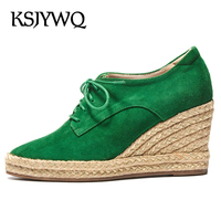 KSJYWQ Women S Genuine Leather Wedges 8 CM High Heel Shoes 2 CM Straw Thick Soles