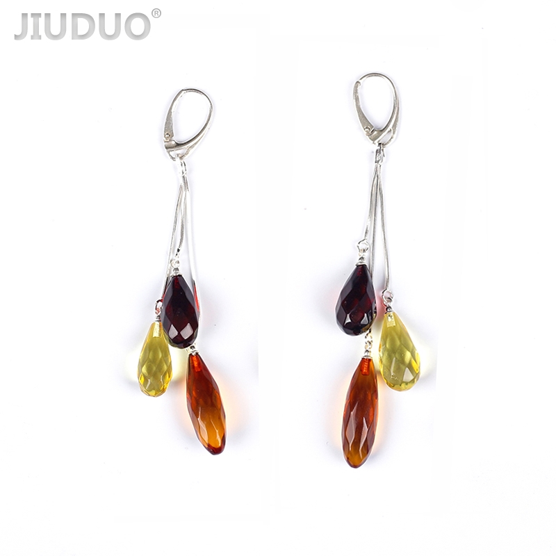 Natural Amber Earrings for Women 925 Sterling Silver Trendy Long Drop Dangling Earrings factory direct special package mail popular natural amber necklace for women luxury amber necklaces precious jewelry factory direct special package mail