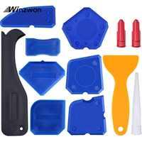 12PCS/Set Caulking Tool Kit Caulk Finishing Joint Sealant Silicone Grout Remover Scraper Home & Garden Tool Kit Hand Tools