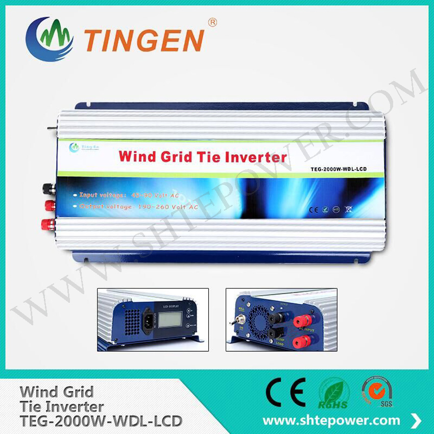 Dc input 45-90v to ac output 190-260v pure sine wave with lcd display 2000w 2kw grid tie windmill turbine inverter micro inverter on grid tie for 600w windmill turbine 3 phase ac input 10 8 30v to ac output pure sine wave