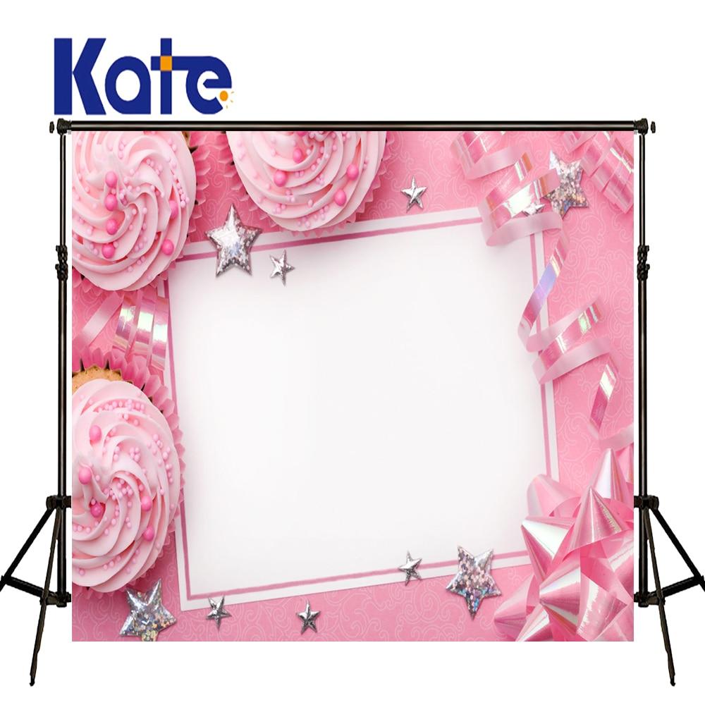 Kate rose nouveau-né décors étoile et gâteau enfants fond rose princesse photographie fond grande taille sans couture Photo