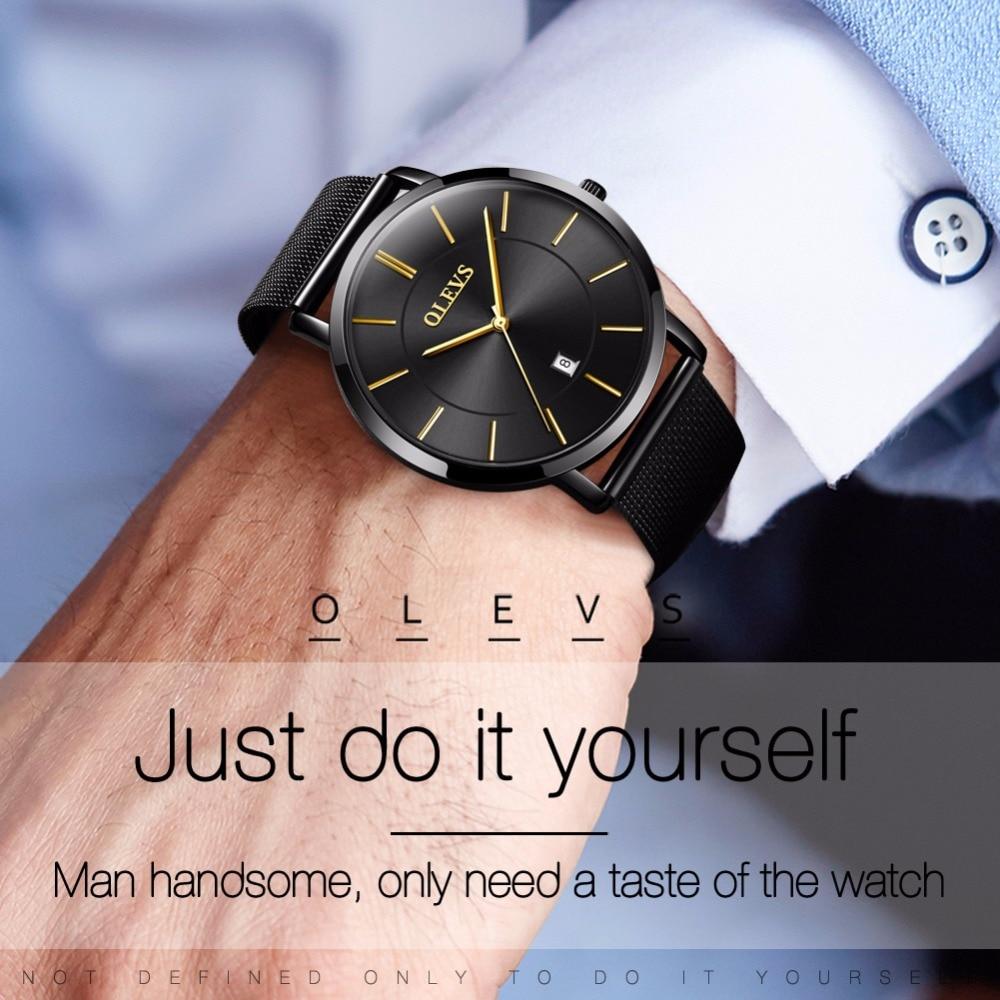 OLEVS Men watch Ultra thin simple Clock Milan Steel Strip Japanese quartz movement Wrist watch relogio masculino erkek kol saati