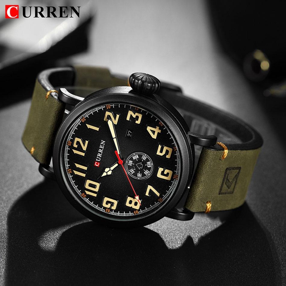Curren Watches Sport Watch Men Waterproof Pilot Quartz Analog Clock Date  Male Leather Watch Men Military. Τύπος αντικειμένου. Χαλαζία ρολόγια χειρός 9398a985d19