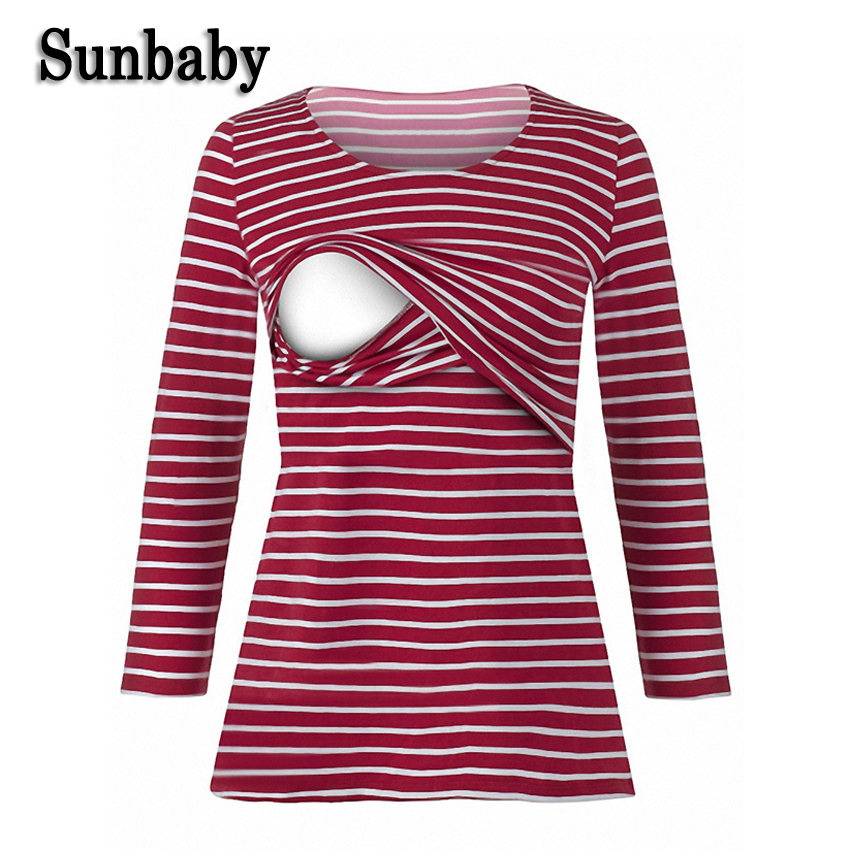 Sunbaby 2017 Winter Fashion Long Sleeve Breastfeeding Shirt nursing top Striped breastfeeding clothes girl