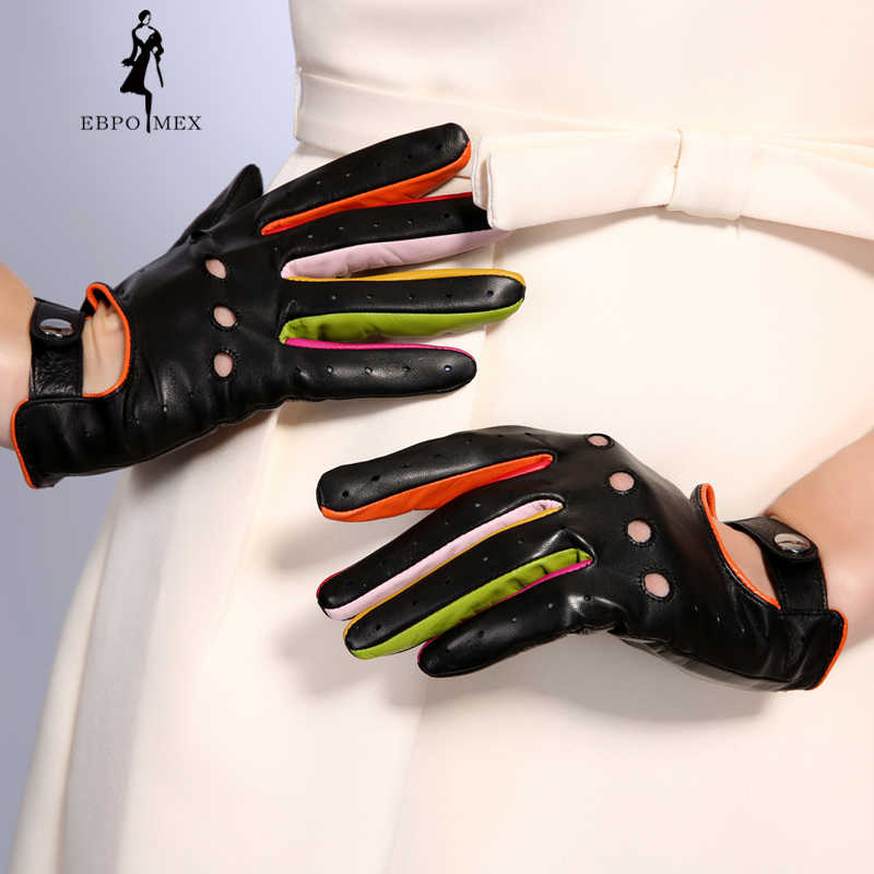 f08c45619 ... Women's Winter Genuine Leather Gloves 2017 New Fashion Brand Ladies  Black Unlined Driving Gloves Goatskin Mittens ...