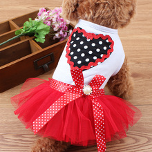Floral Heart Shape Design Puppy Dog Skirts Cat Small Dog Bubble Skirt Summer Dogs Clothes Teddy Yorkshire Terrier Clothing