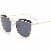 b65d4ea2004a Mirror Sunglasses Women 2017 Metal Reflective Cat Eye Sun Glasses For Women  men Brand Design UV400 sunglass glass eyewear women