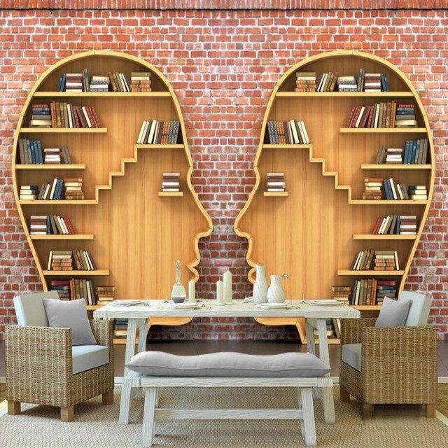 3D Boeken Boekenkast Muurschildering behang voor muren woonkamer ...