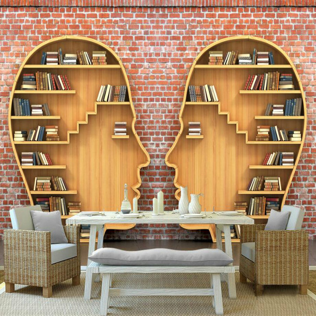 3D Books Bookcase Mural Wallpaper For Walls Living Room Home Improvement  Decor Modern Wallpaper Background Wall